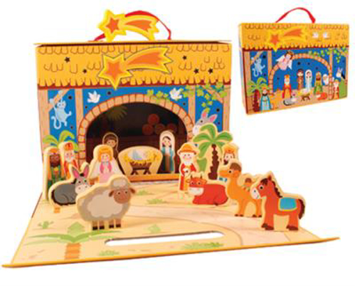 Picture of Wood Nativity - 13  Figures with Stable