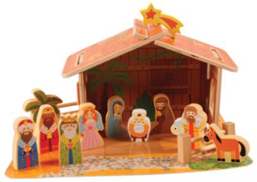 Picture of Wood Nativity - 10  FigureS with Stable -