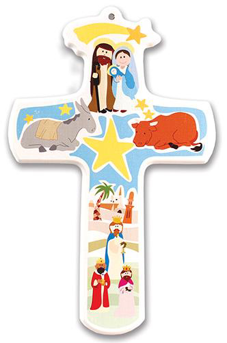 Picture of Imitation Wood Nativity Cross 12 inch