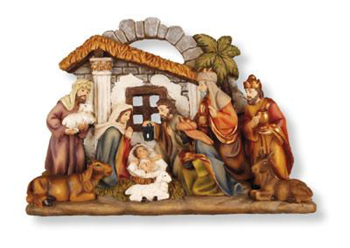 """Picture of Resin Nativity Scene - 10 fixed figures 7.25"""""""