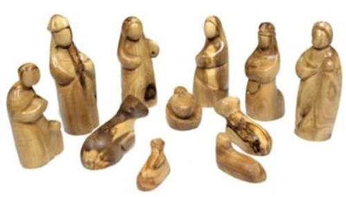 Picture of Wood (Olive) Nativity 11 Figures 10cm