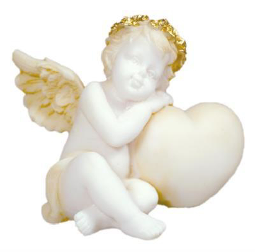 Picture of Angel with Heart (White/Gold) 6cm
