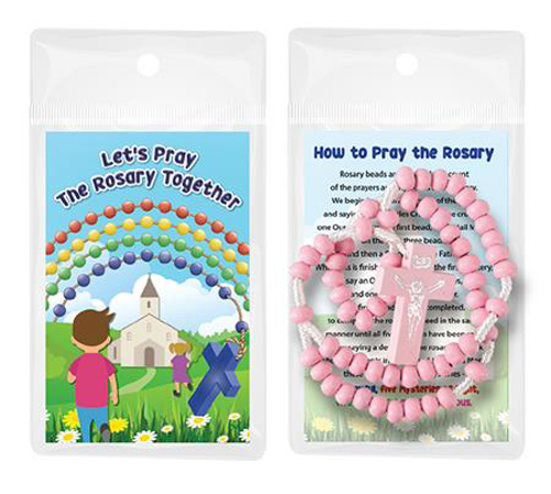 Picture of Wood Corded Rosary - Pink