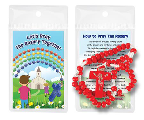 Picture of Wood Corded Rosary - Red