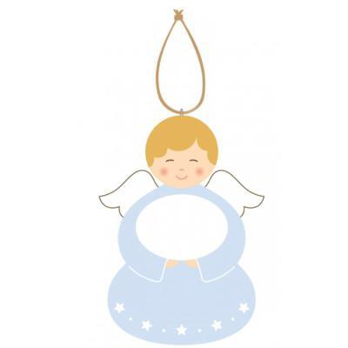 Picture of Painted Wood Angel Plaque (Blue)