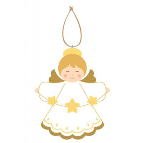 Picture of Christmas Stars Angel/Gold/White 9.5cm