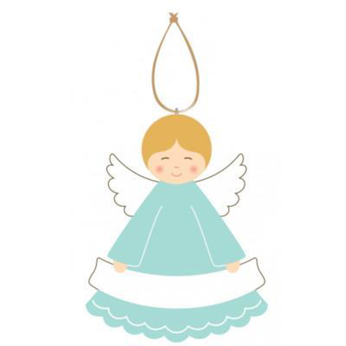 Picture of Painted Wood Angel Plaque (Green)
