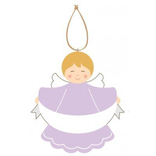 Picture of Painted Wood Angel Plaque (Mauve)