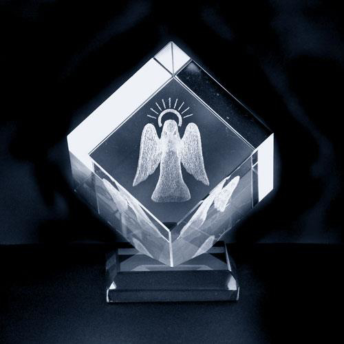 Picture of Glass Cube: Angel with Halo