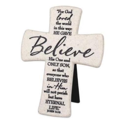 "Picture of Cross Standing - Believe 5.75"" x 4.75"