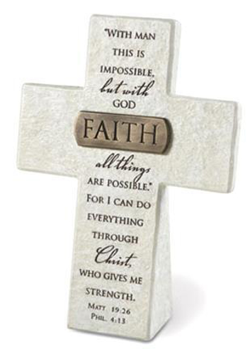 """Picture of Cross - Standing -  5.5"""" x 4"""" - Faith"""