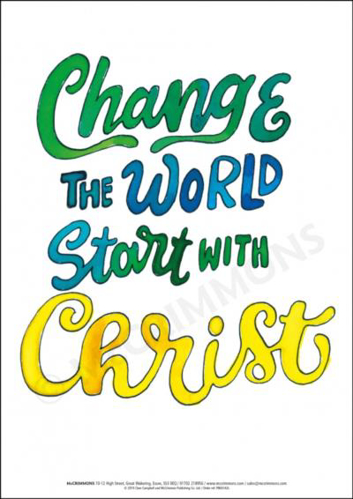 Picture of A3 Laminated Poster - Change the World, Start with Christ