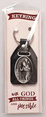 Picture of Faux Leather Key Ring/Saint Christopher