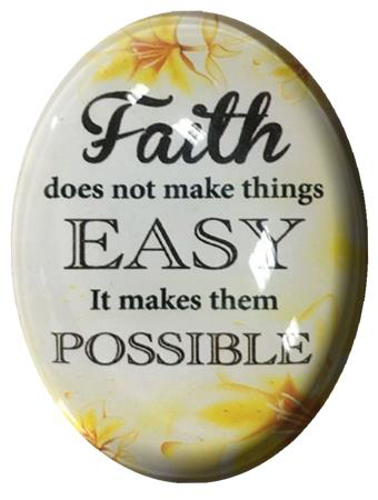 Picture of Glass Fridge Magnet/Faith Does not make