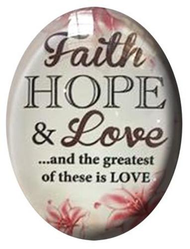 Picture of Glass Fridge Magnet/Faith, Hope & Love