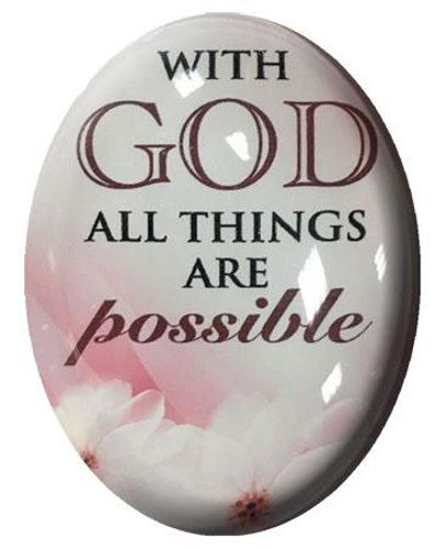Picture of Glass Fridge Magnet/With God All Things