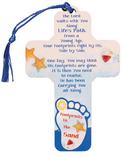 Picture of Wood Cross 5 inch/Life's Path Footprints