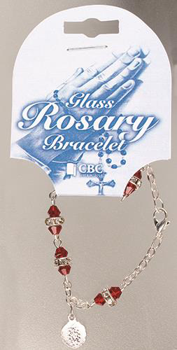 Picture of Glass Rosary Bracelet/Ruby