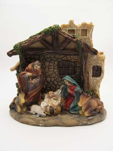 Picture of Resin Nativity Scene - 6 fixed figures 12cm x 12cm