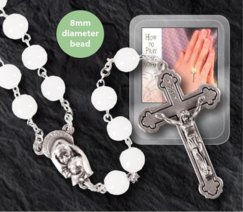 Picture of Glass Rosary - White