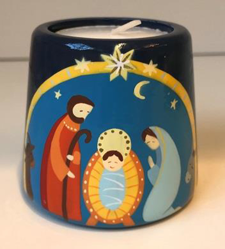 Picture of Christmas Nativity Candle - Blue
