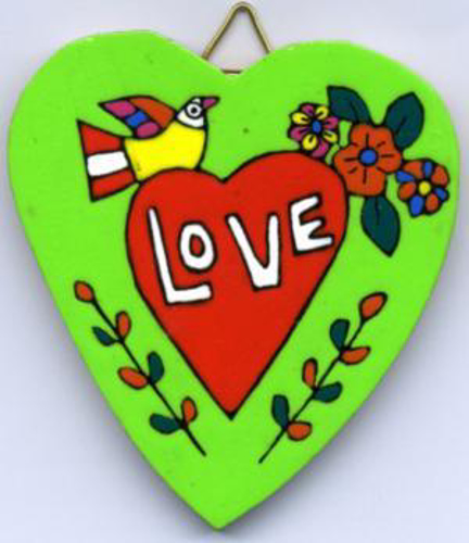 Picture of Heart of Love Wooden Plaque 7 x 7cm