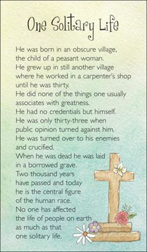Picture of Prayer Card - One Solitary Life