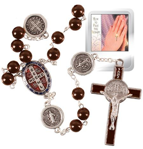 Picture of Plastic St. Benedict Rosary Beads (Brown)