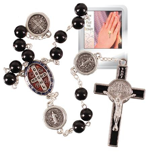 Picture of Plastic St Benedict Rosary Beads (Black)