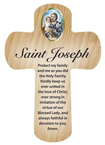 Picture of St Joseph: Wood Pocket Cross 3 1/4""
