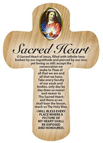 Picture of Wood Pocket Cross - Sacred Heart