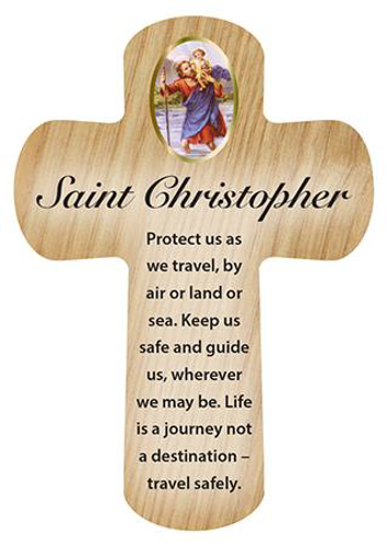 Picture of Wood Pocket Cross - St. Christopher