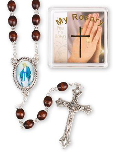 Picture of Dark Brown Wood Rosary Beads