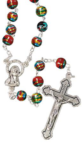 Picture of Red Glass Rosary Beads with Gold Decoration