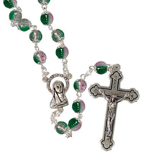 Picture of 2-Tone Glass Rosary Beads - Green